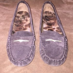 Sam Edelman Sz6.5 Gray/grn suede penny loafers